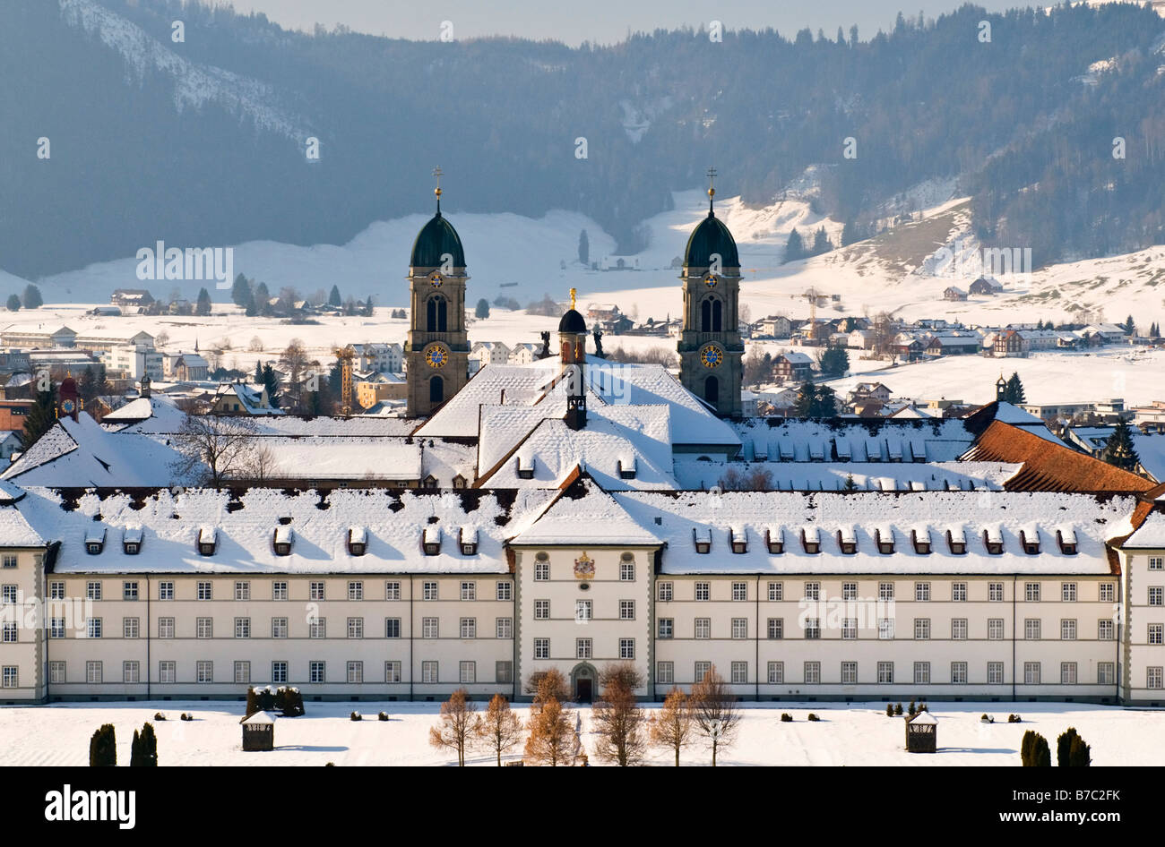 Benedictine monastery in Einsiedeln in the Canton of Schwyz Switzerland. The country's   greatest pilgrimage - Stock Image