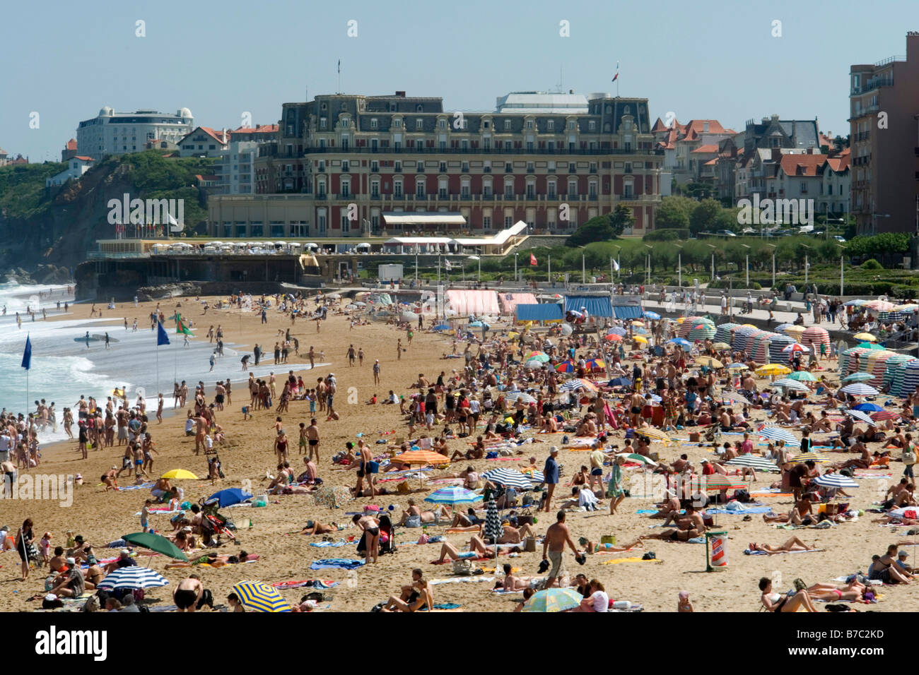 busy beach grande plage Biarritz France - Stock Image