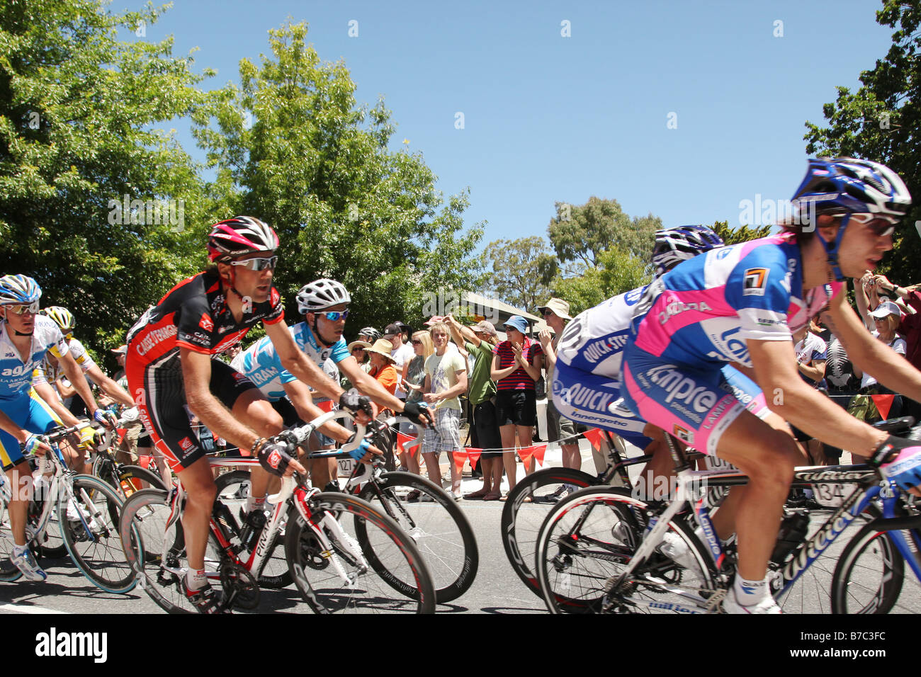 Riders competing during Stage 2 of the Tour Down Under in Adelaide Australia on January 20 2009 - Stock Image