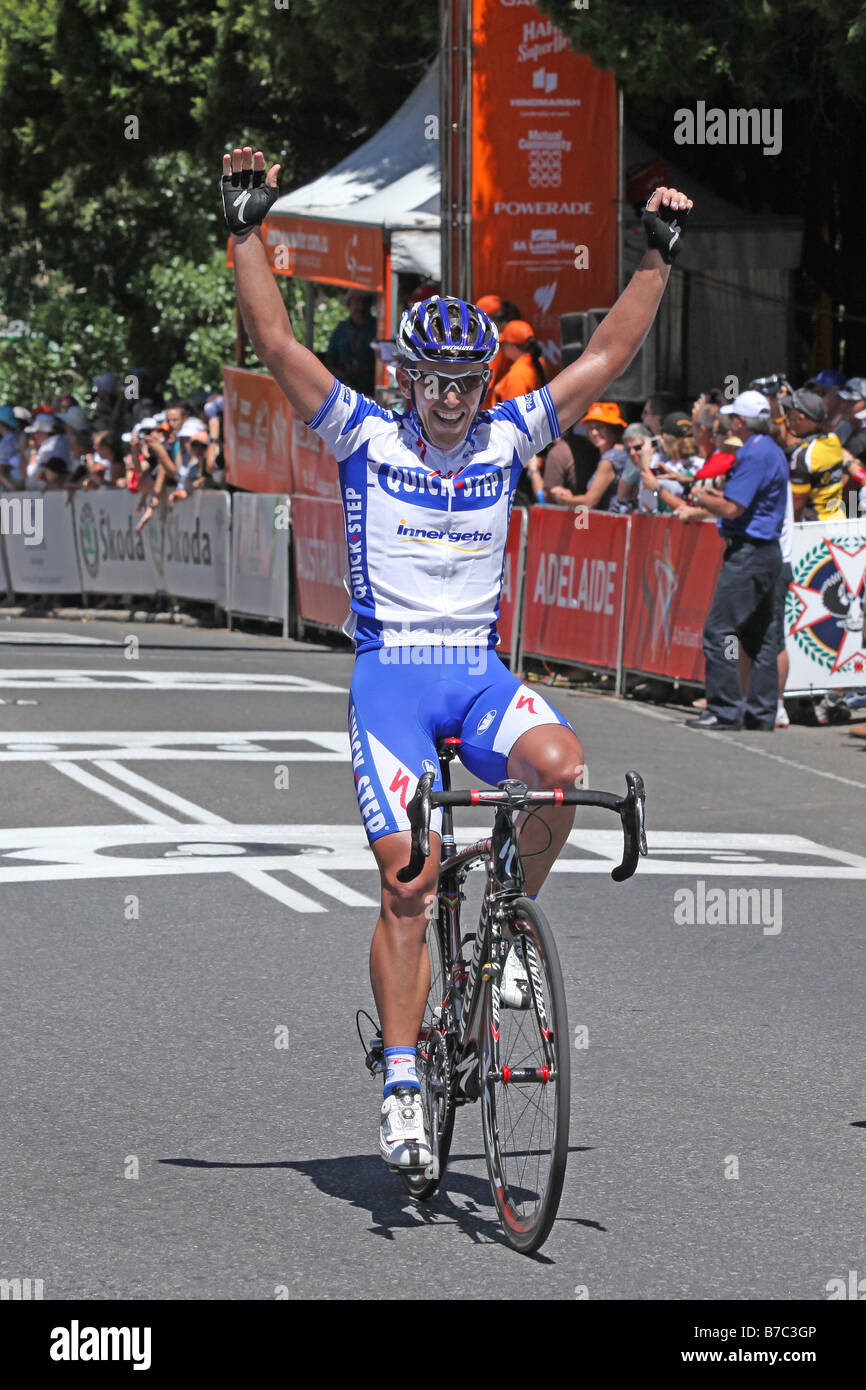 Allan Davis from the Quick Step team winning Stage 2 of the 2009 Tour Down Under in Adelaide Australia on 20 January - Stock Image