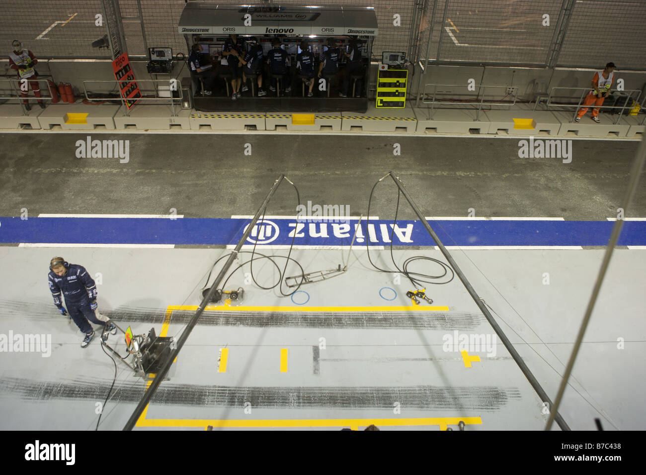 AT&T Williams pit stop preparation aerial view. Singapore F1 Stock Photo