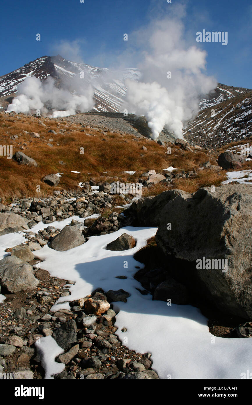 Steaming fumaroles at Asahidake, Hokkaido's tallest mountain, Daisetsuzan National Park, Japan - Stock Image