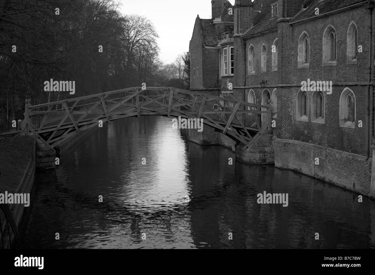 The Wooden Bridge over the River Cam in Cambridge, also commonly known as the Mathematical Bridge - Stock Image