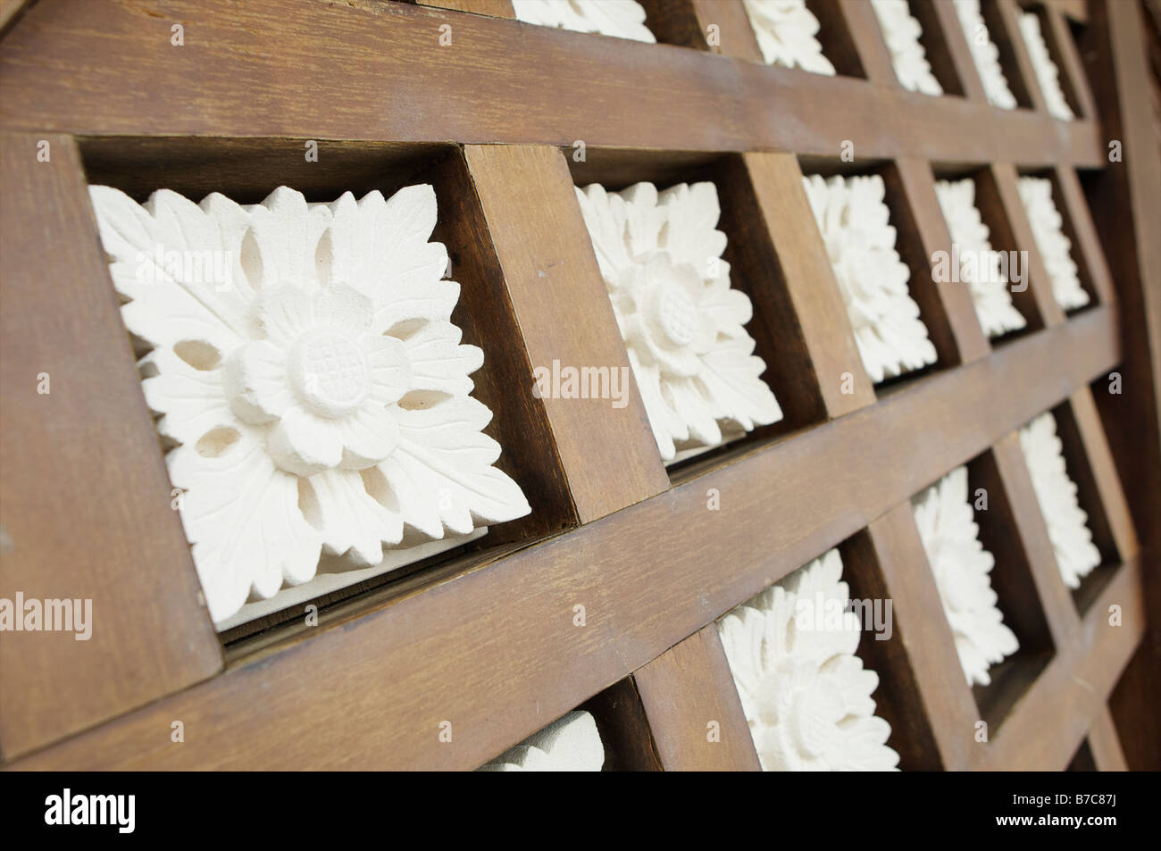 Malaysia carvings in to wood at a traditional house in Miri Malaysia - Stock Image