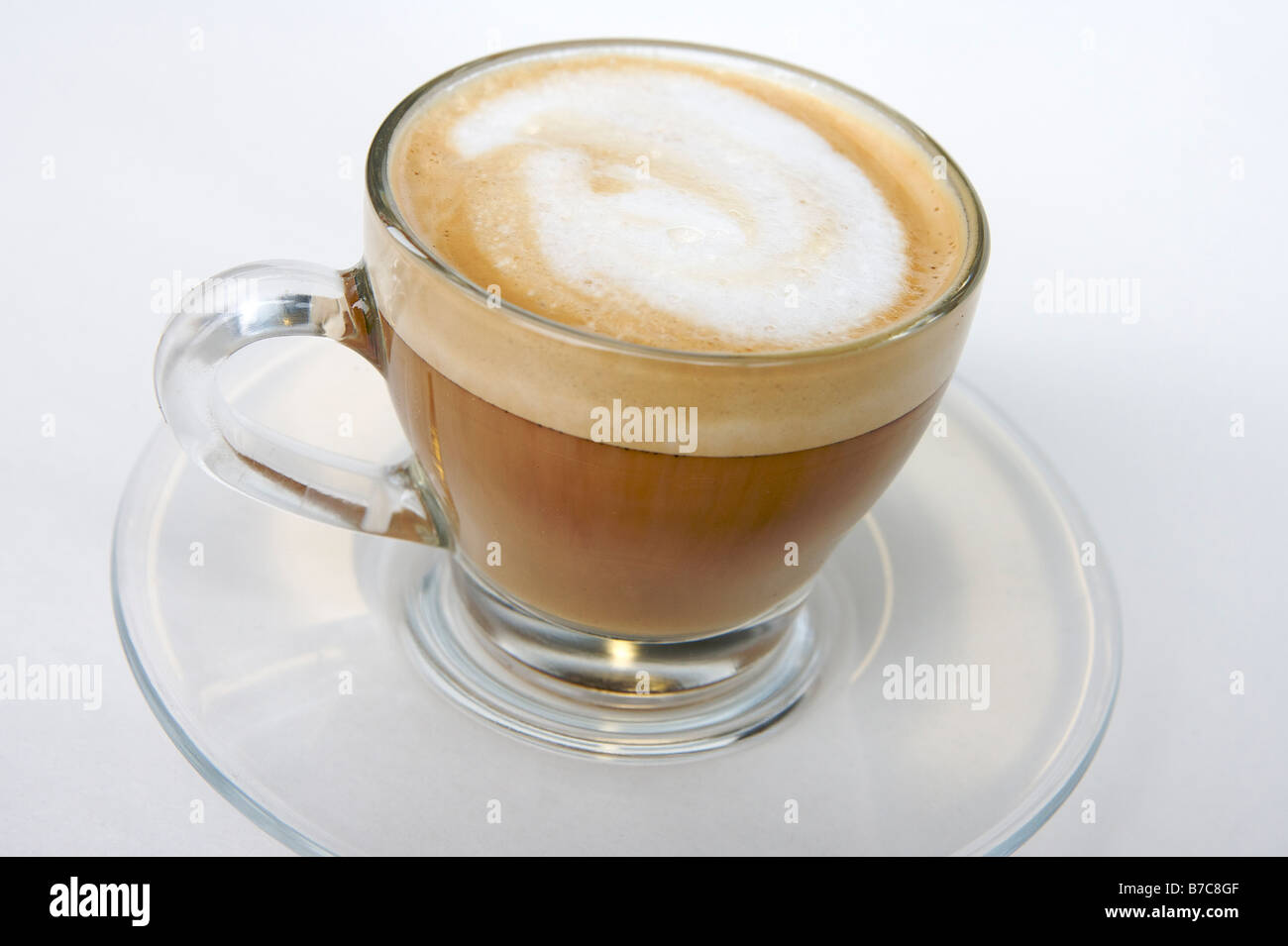 Fresh Latte Coffee In A Glass Cup With Saucer Stock Photo Alamy