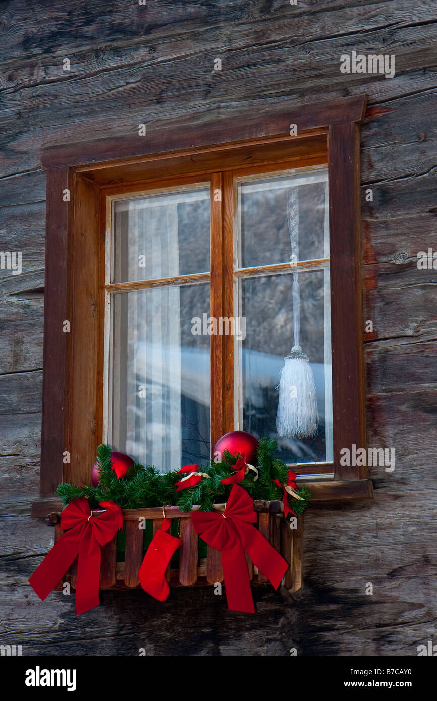 Christmas decorations on chalet window in Zermatt Switzerland Stock ...