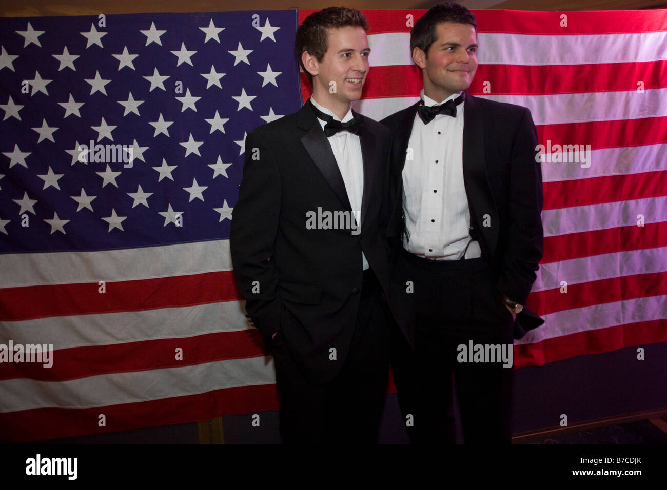 US expatriate citizens gather at a formal ball for Barack Obama's inauguration as the 44th US President in London - Stock Image