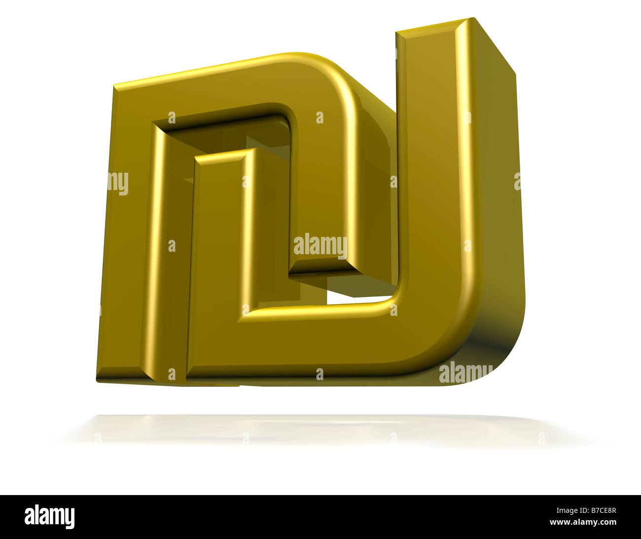 Israeli New Shekel Symbol 3d Cgi Render Stock Photo 21787607 Alamy