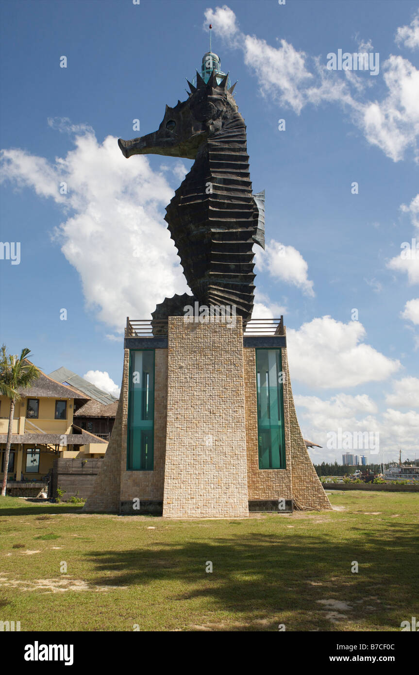 the sea horse which is the official creature of the sleepy oil town Miri Malaysia - Stock Image
