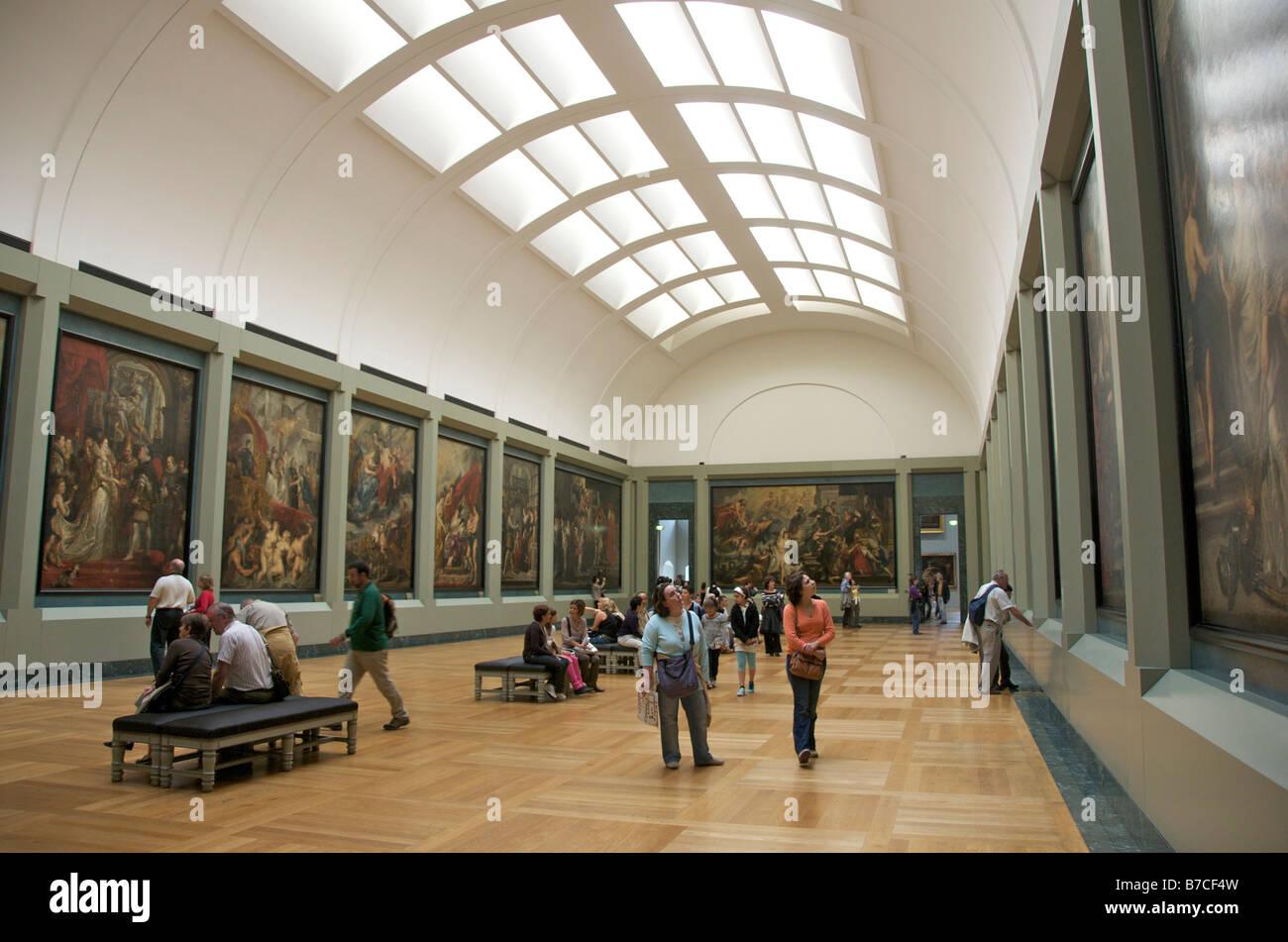 Louvre art gallery, interior, Paris, France - Stock Image