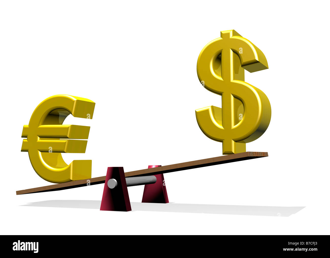 Euro and Dollar symbols on see saw showing weak Dollar 3d CGI render - Stock Image