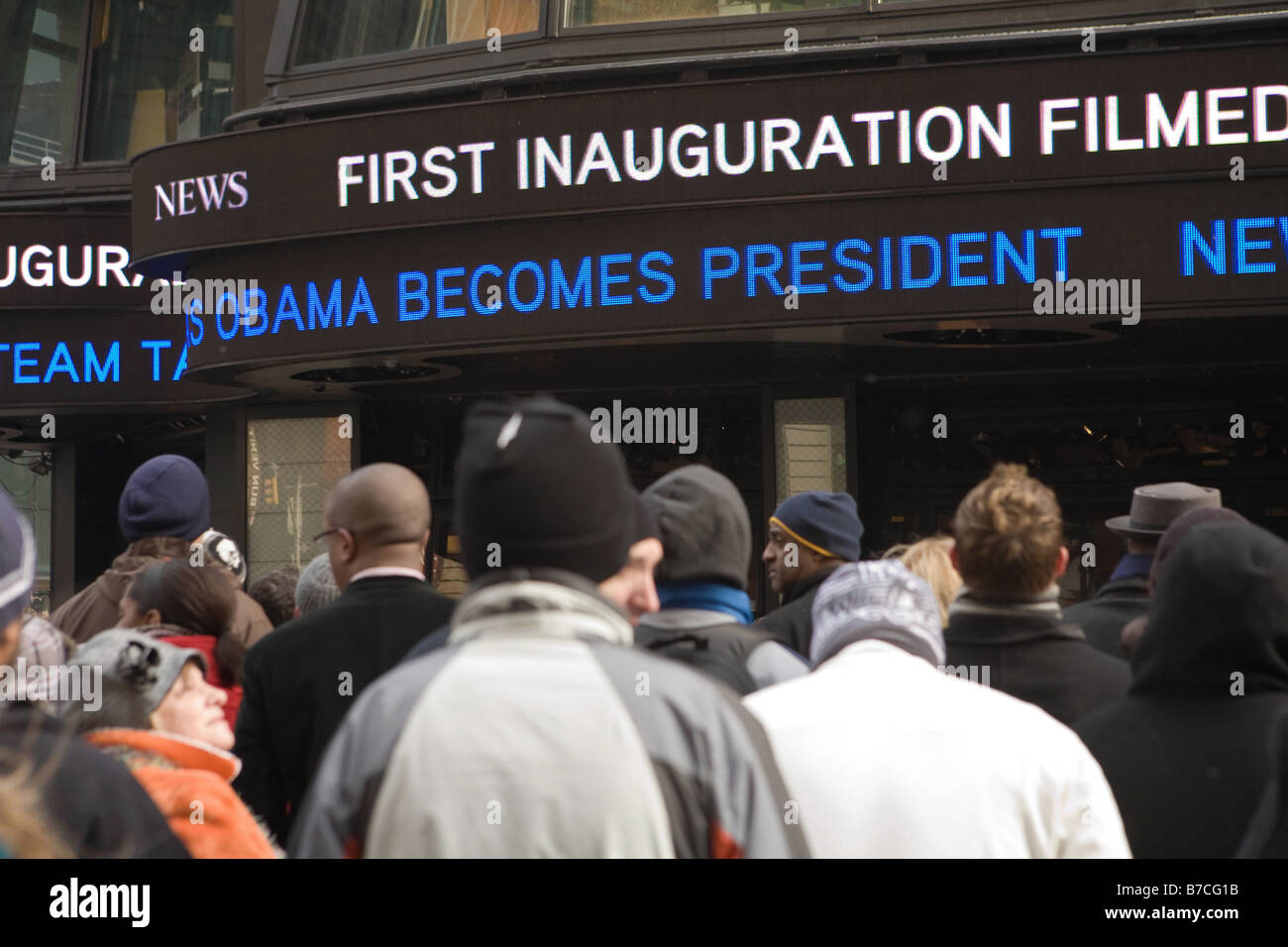 Obama Inauguration 2009, Times Square, NYC - Stock Image