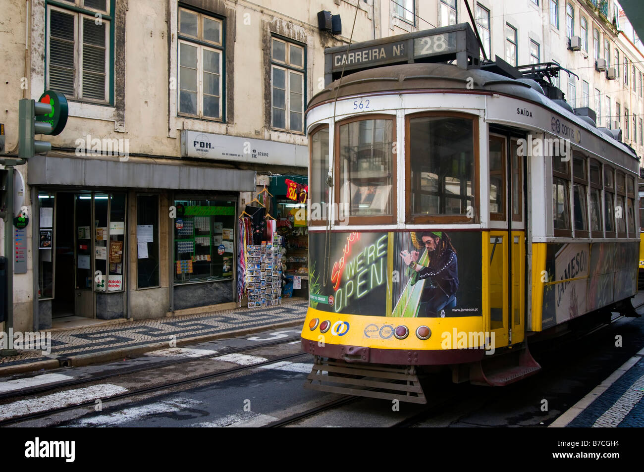 Tram in the streets of  Lisbon city centre Stock Photo