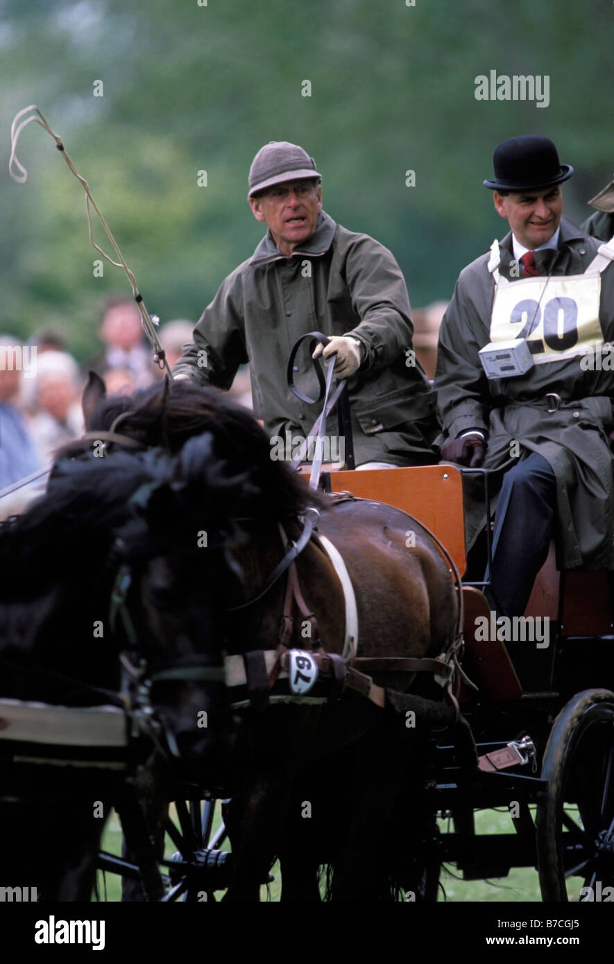 Prince Philip Duke Of Edinburgh Competing At Carriage Riding Windsor Horse Show Berkshire