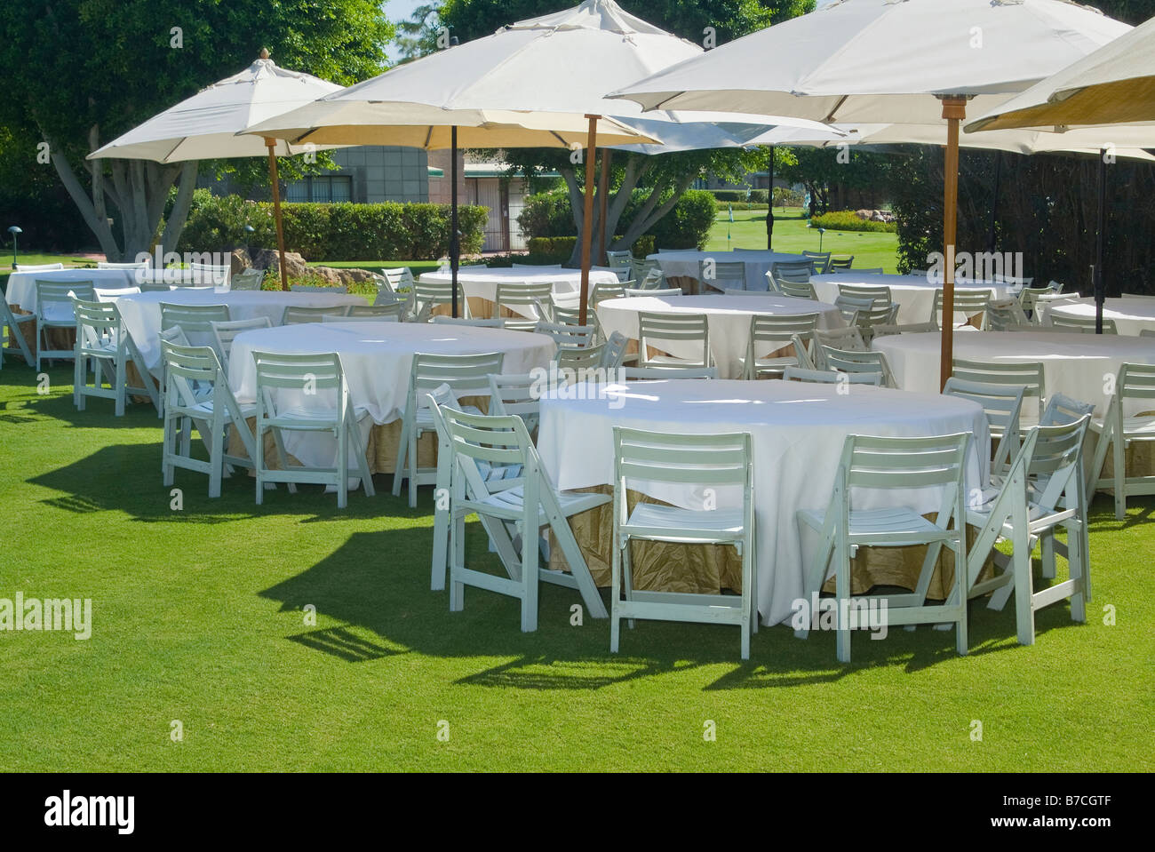 Tables And Chairs Outside Outdoors Before Garden Party Event, USA