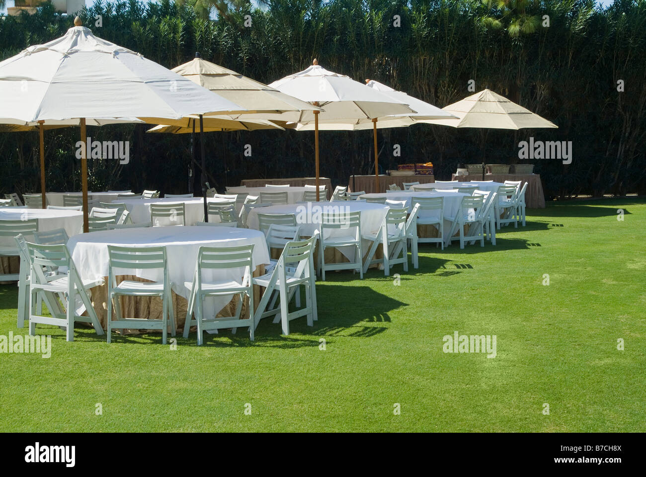 Terrific Tables And Chairs Outside Outdoors Before Garden Party Event Interior Design Ideas Pimpapslepicentreinfo