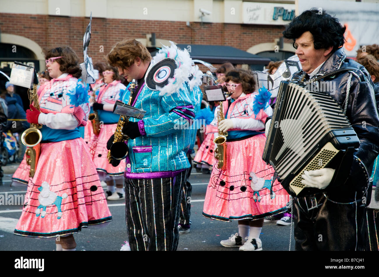 Music band marching at the annual Mummers parade in Philadelphia - Stock Image
