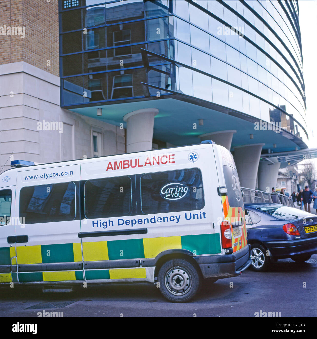 High Dependency Unit Ambulance parked at the entrance of the Nightingale Wing of Kings College Hospital Camberwell, - Stock Image