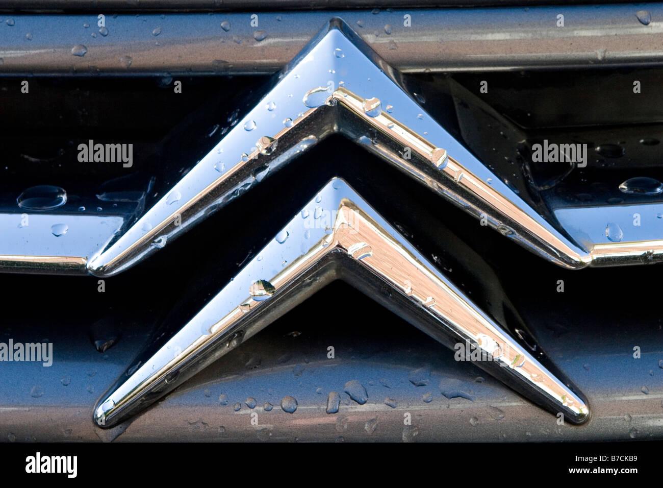 Closeup Detail of a Citreon Car Badge - Stock Image