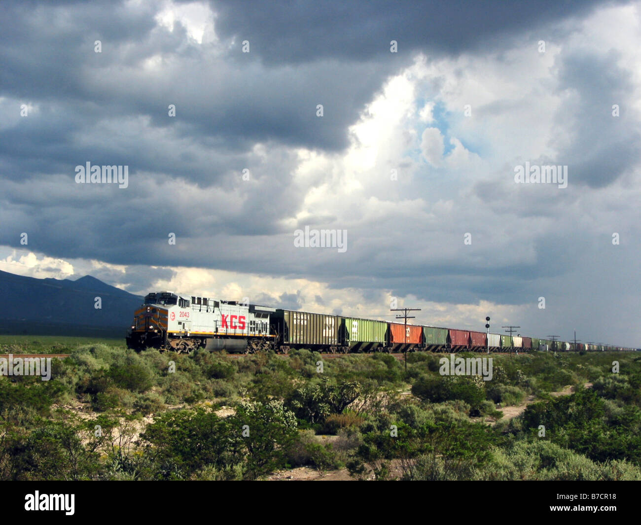 freight train in the Sierra Madre, Mexico - Stock Image