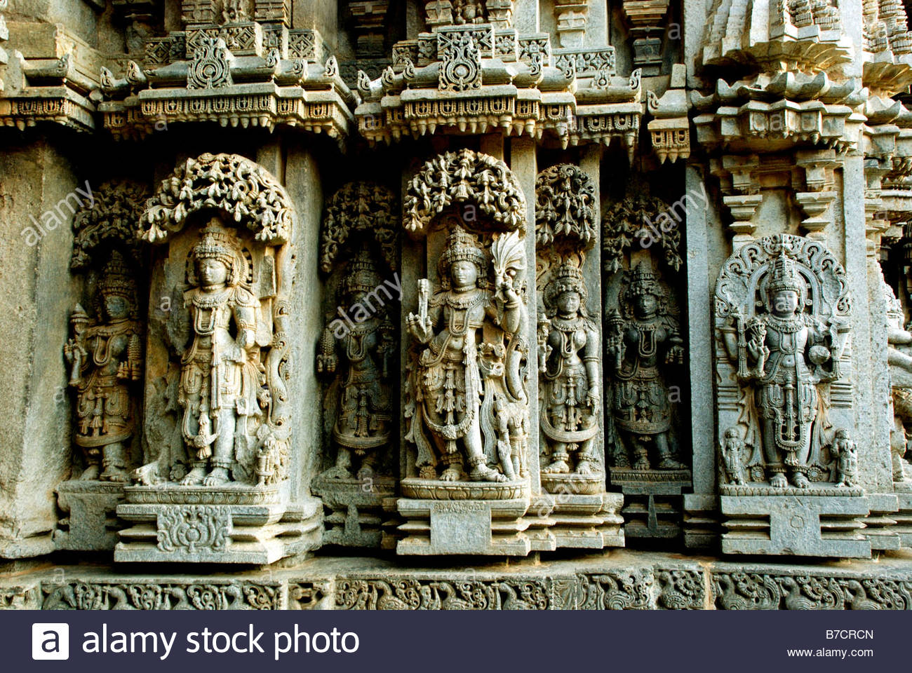 TEMPLE SCULPTURES AT SOMANATHAPUR - Stock Image