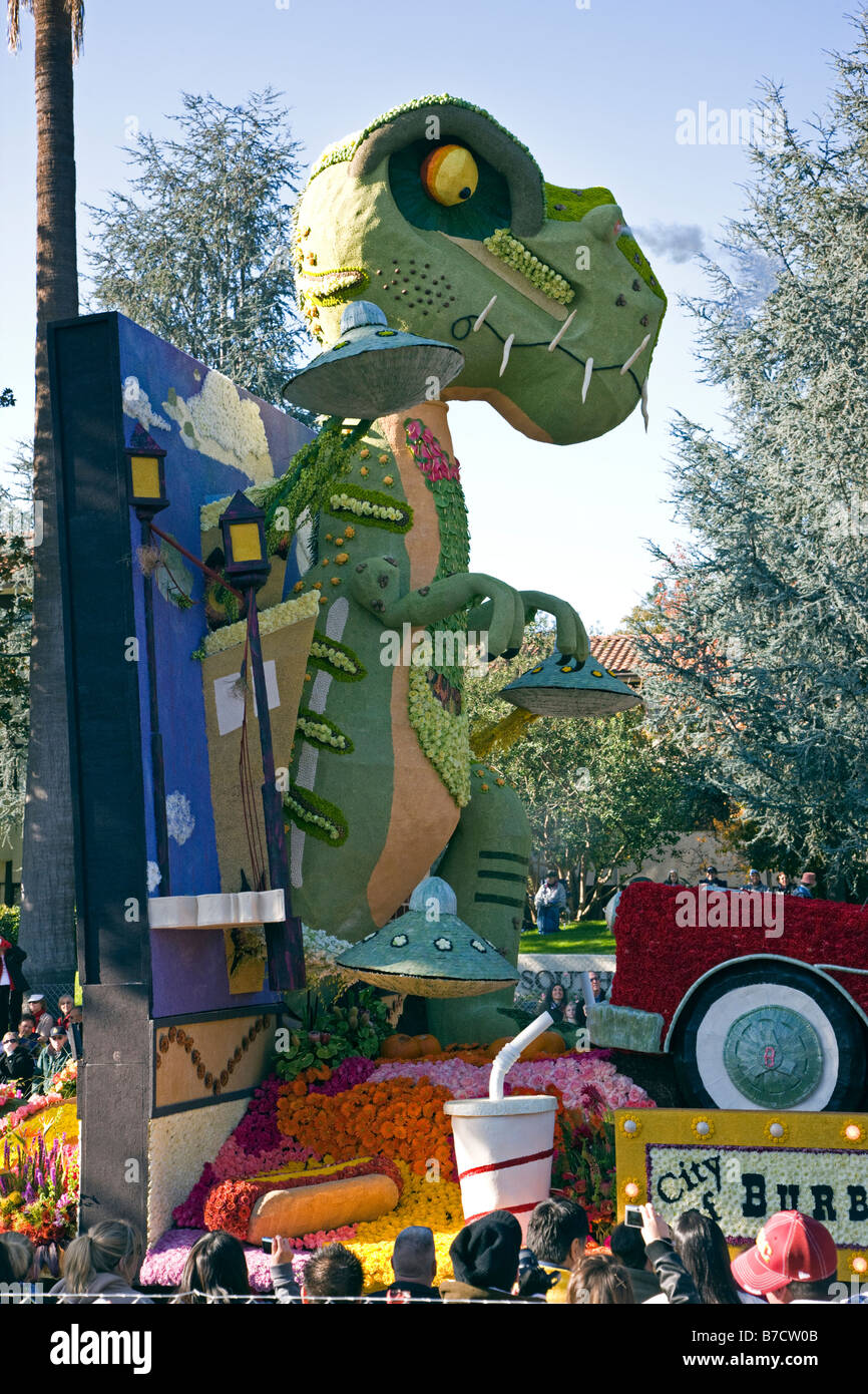 Float in annual flower parade stock photos float in annual flower floats decorated with flowers in the annual new years day rose bowl parade pasadena izmirmasajfo