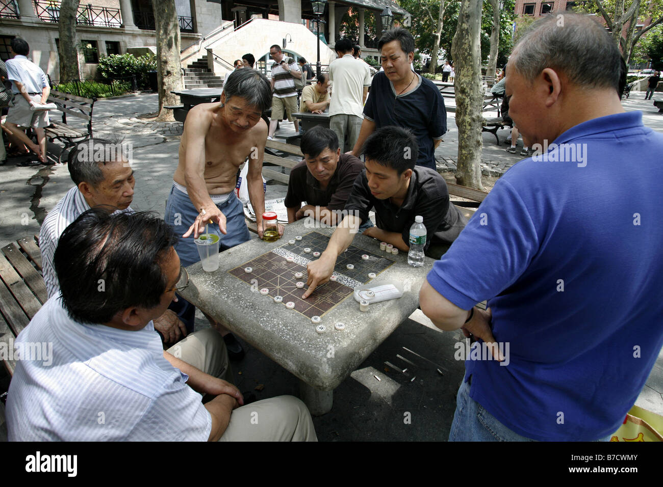 Xiangqi Game, Columbus Park, Chinatown, New York City, USA - Stock Image