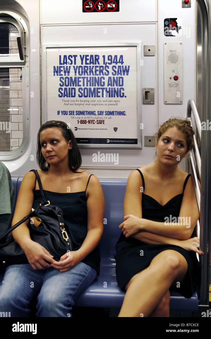 Anti-Terror Poster, Subway Train, New York City, USA - Stock Image