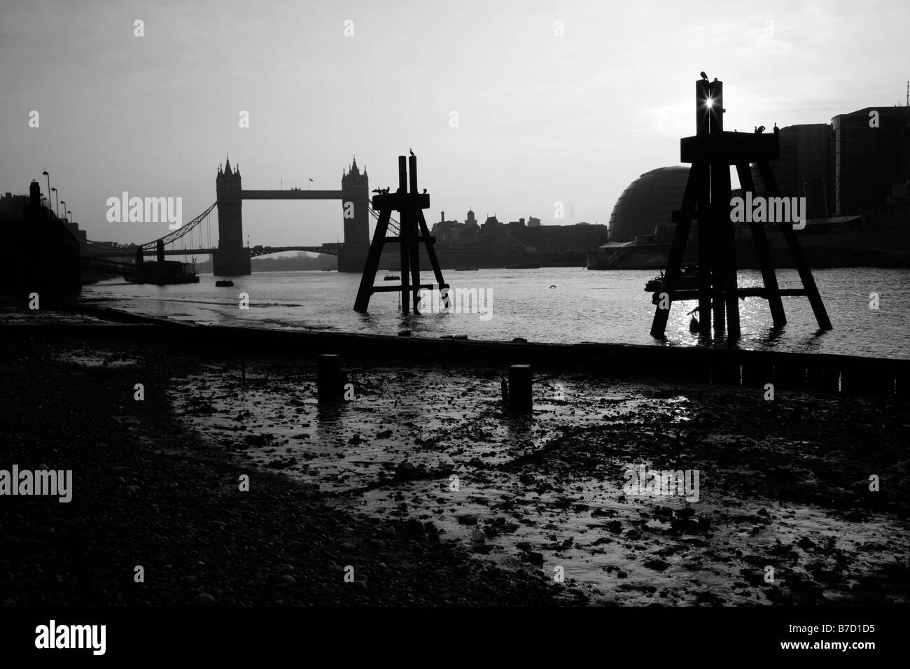River Thames at Tower Bridge, London - Stock Image