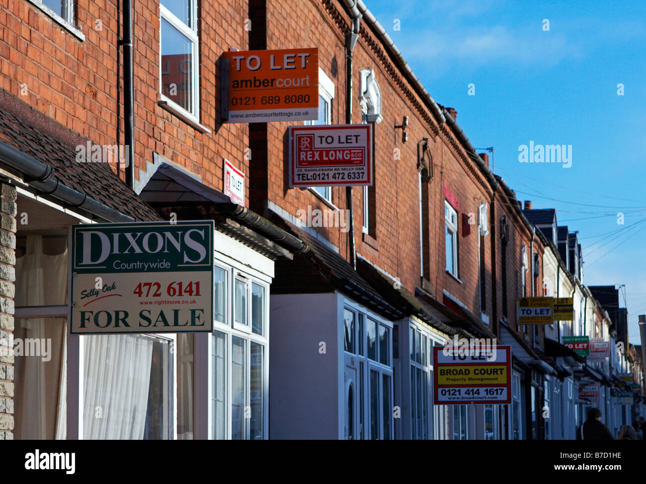 Student accomodation and residention properties for sale and to let in Selly Oak Birmingham UK 20 Jan 2009 - Stock Image