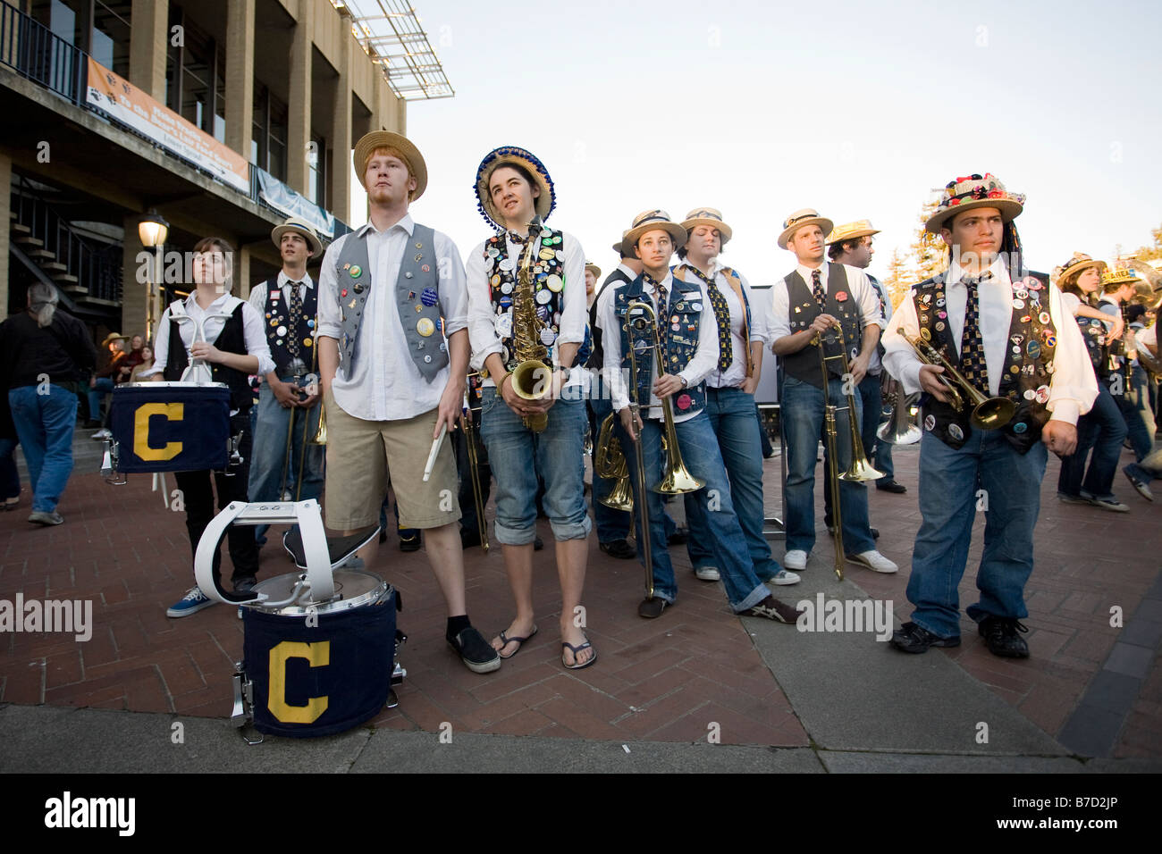The Cal Straw Hat Band waits to perform at the 2009 Obama Inauguration Event at the University of California at - Stock Image