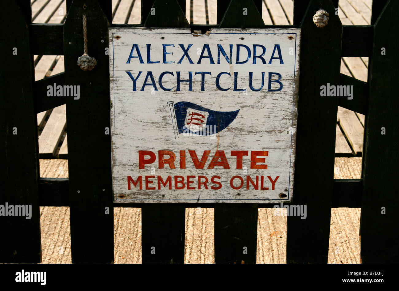 A sign in Southend, Essex, announcing 'Alexandra Yacht Club - Private, Members Only'. - Stock Image
