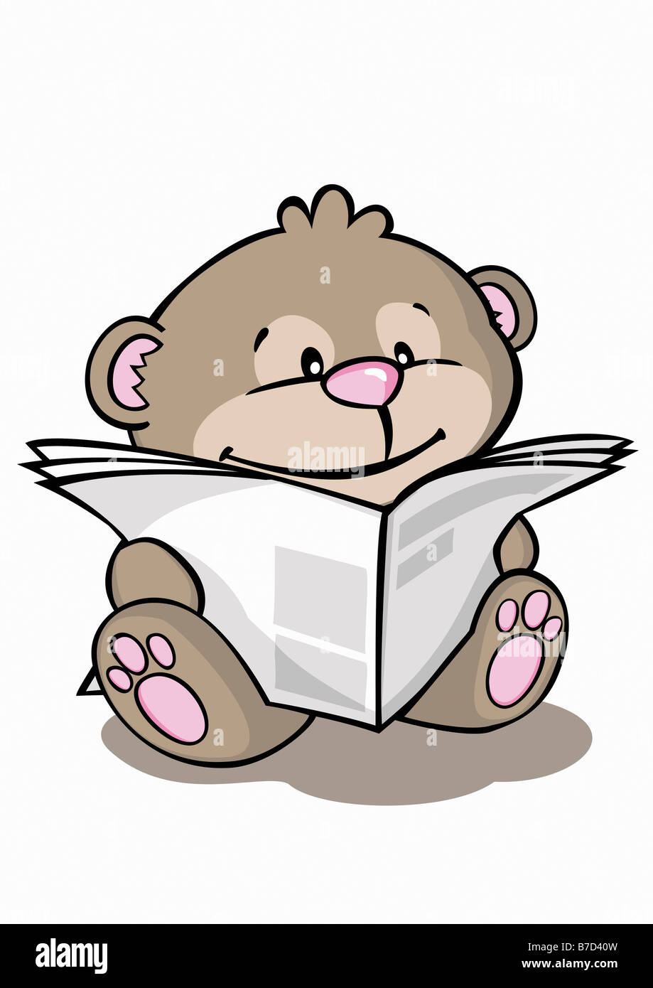 A cartoon bear reading the newspaper - Stock Image