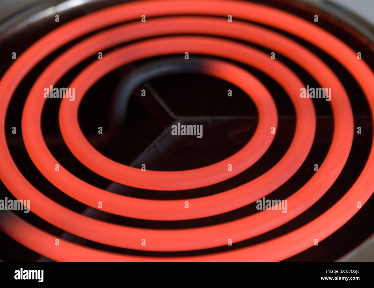 Hot Electric Cooker Ring Glowing Red Switched On Stock Photo