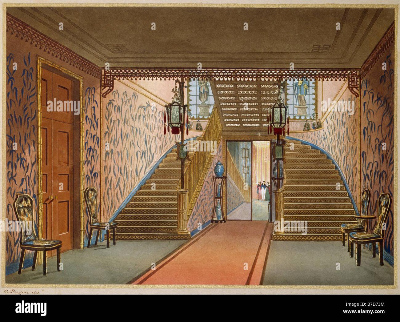 Royal Pavilion Brighton Staircase Nash & Pugin - Stock Image