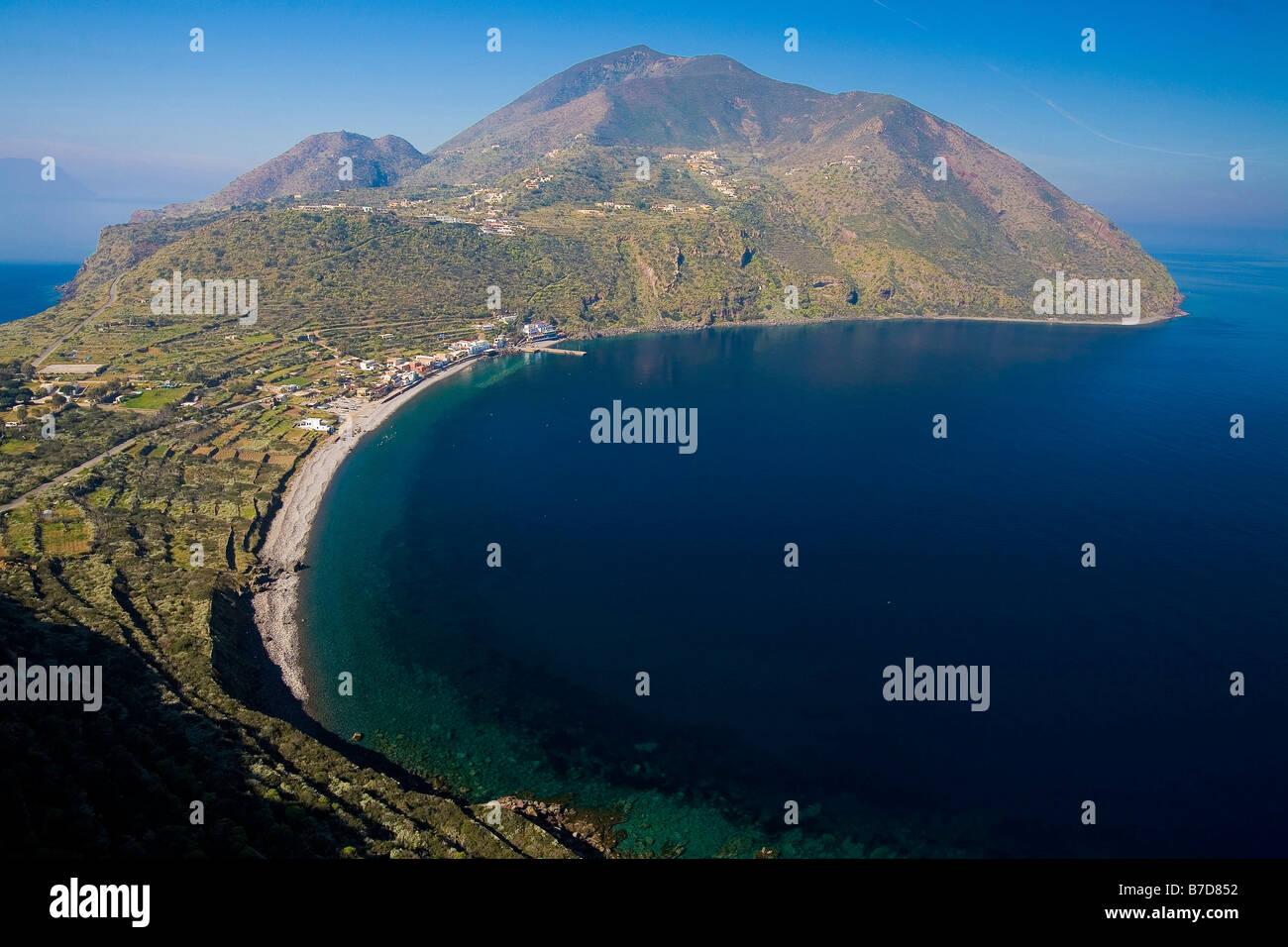 Aerial view, Filicudi island, Aeolian Islands, Sicily, Italy Stock Photo