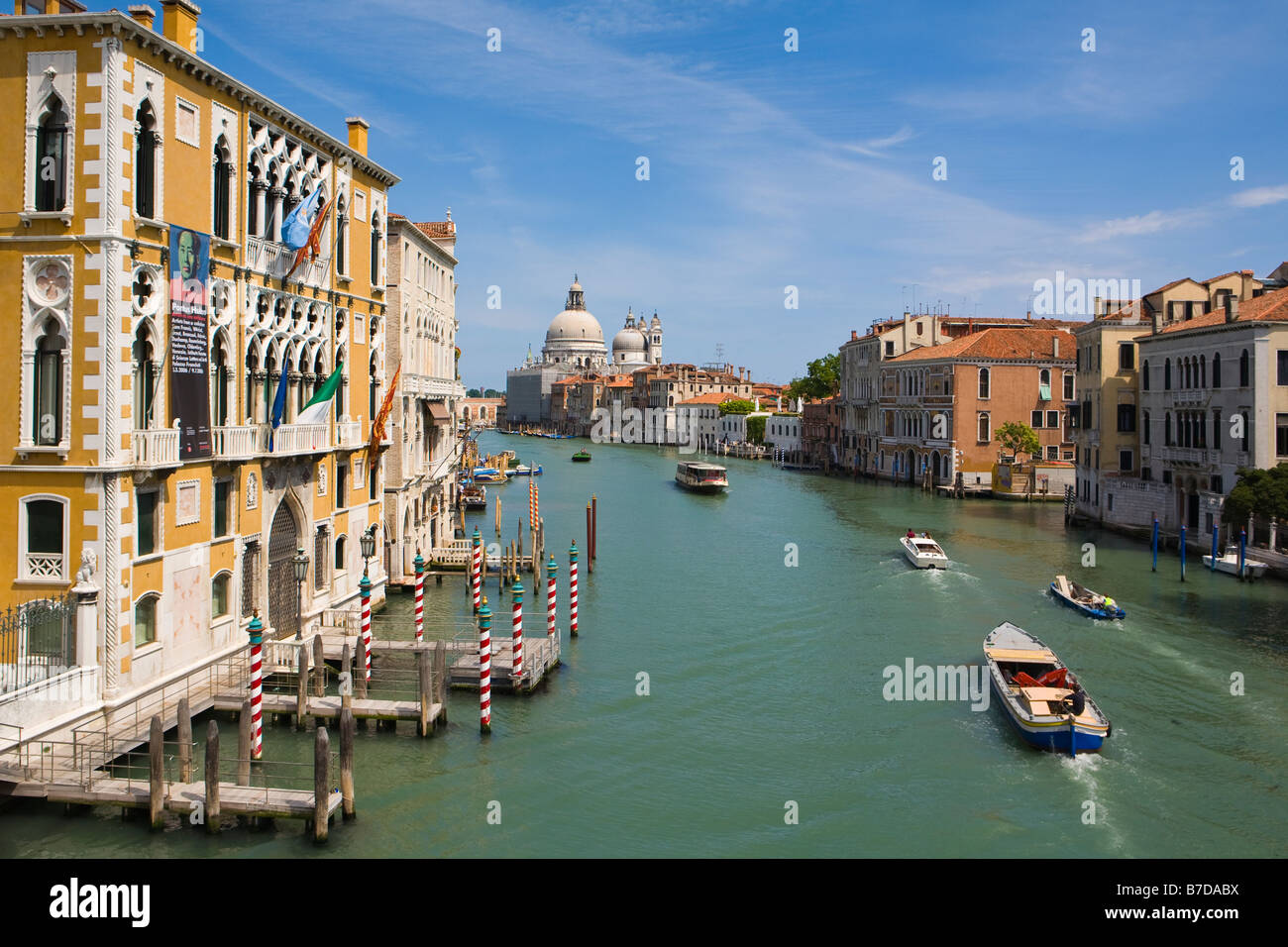 A view of the Grand Canal in Venice, Italy from the Academia Bridge. - Stock Image