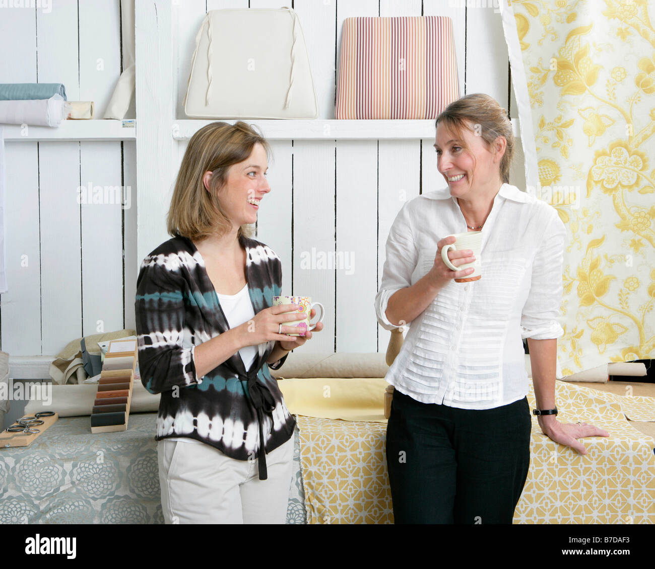 2 women discussing project - Stock Image
