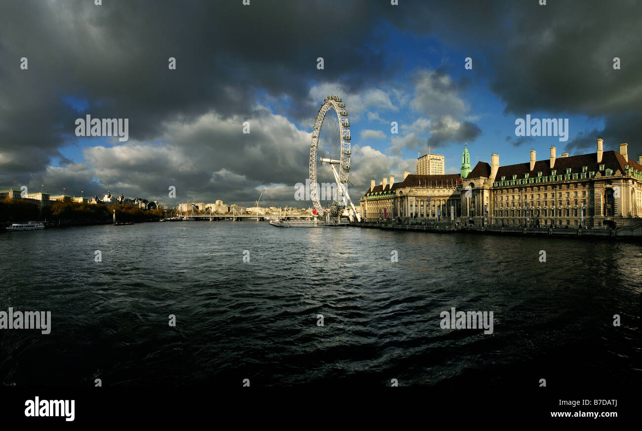 A stunning dramatic landscape of the london eye taken from westminster bridge london. Picture by Patrick Steel patricksteel - Stock Image