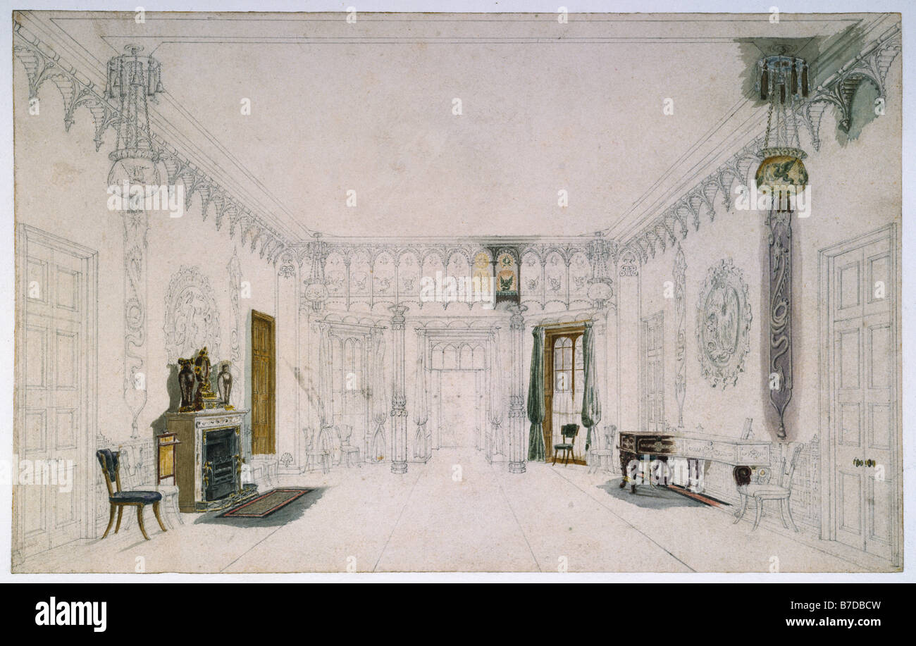 Royal Pavilion Brighton Entrance Hall drawing by A.C. Pugin - Stock Image