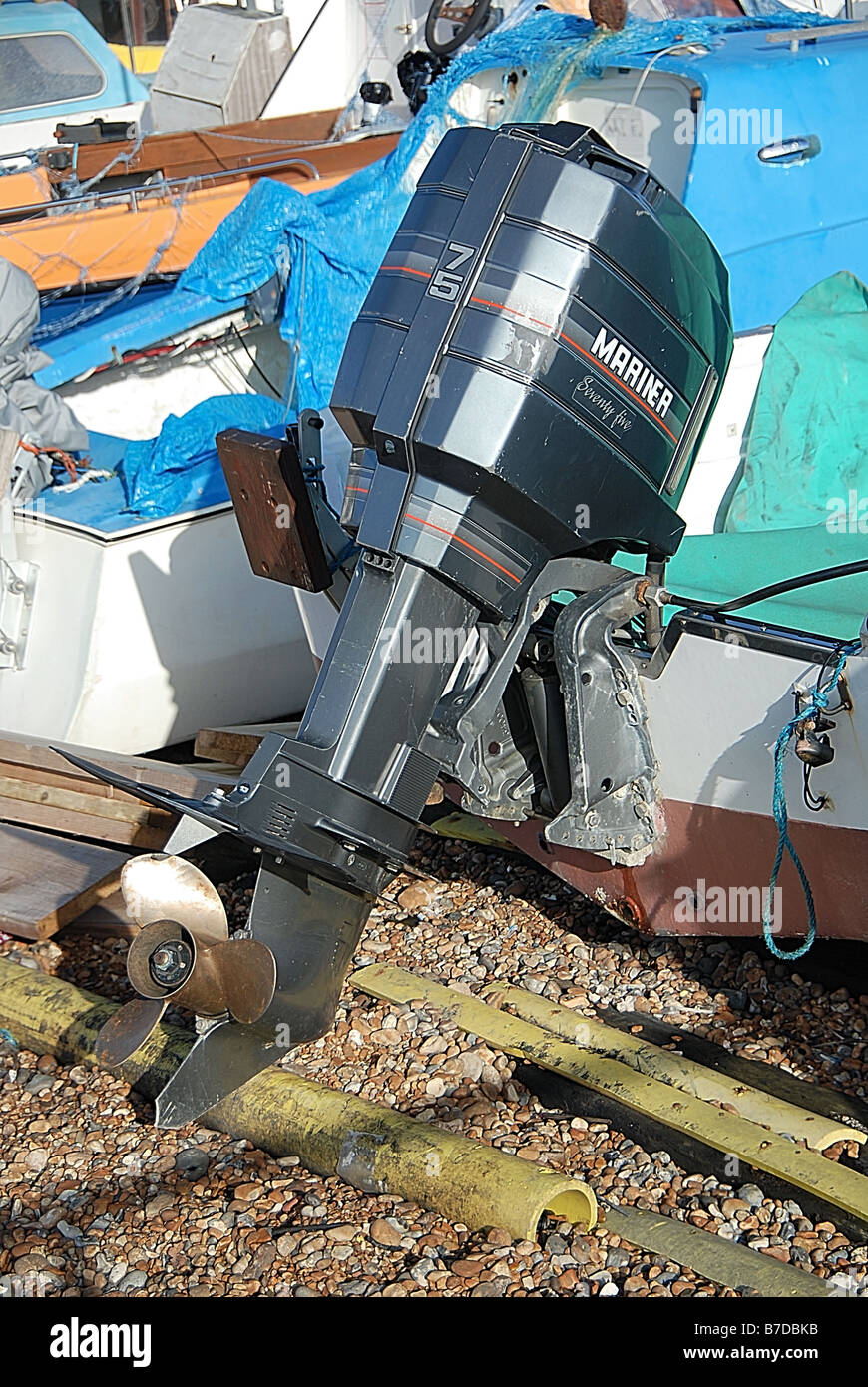 Mariner 75 Outboard Motor - Stock Image