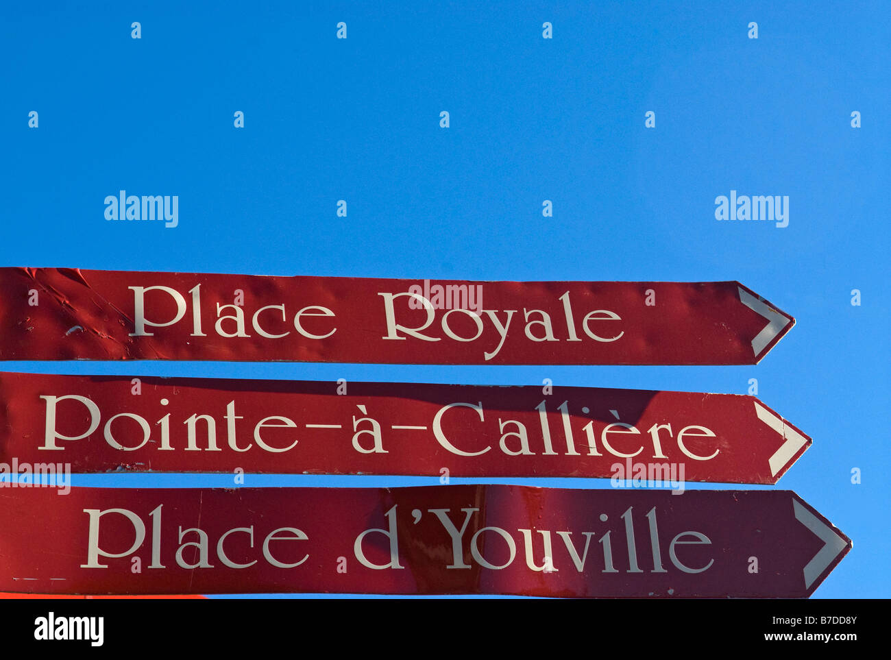 Street french indications signs Old Montreal - Stock Image