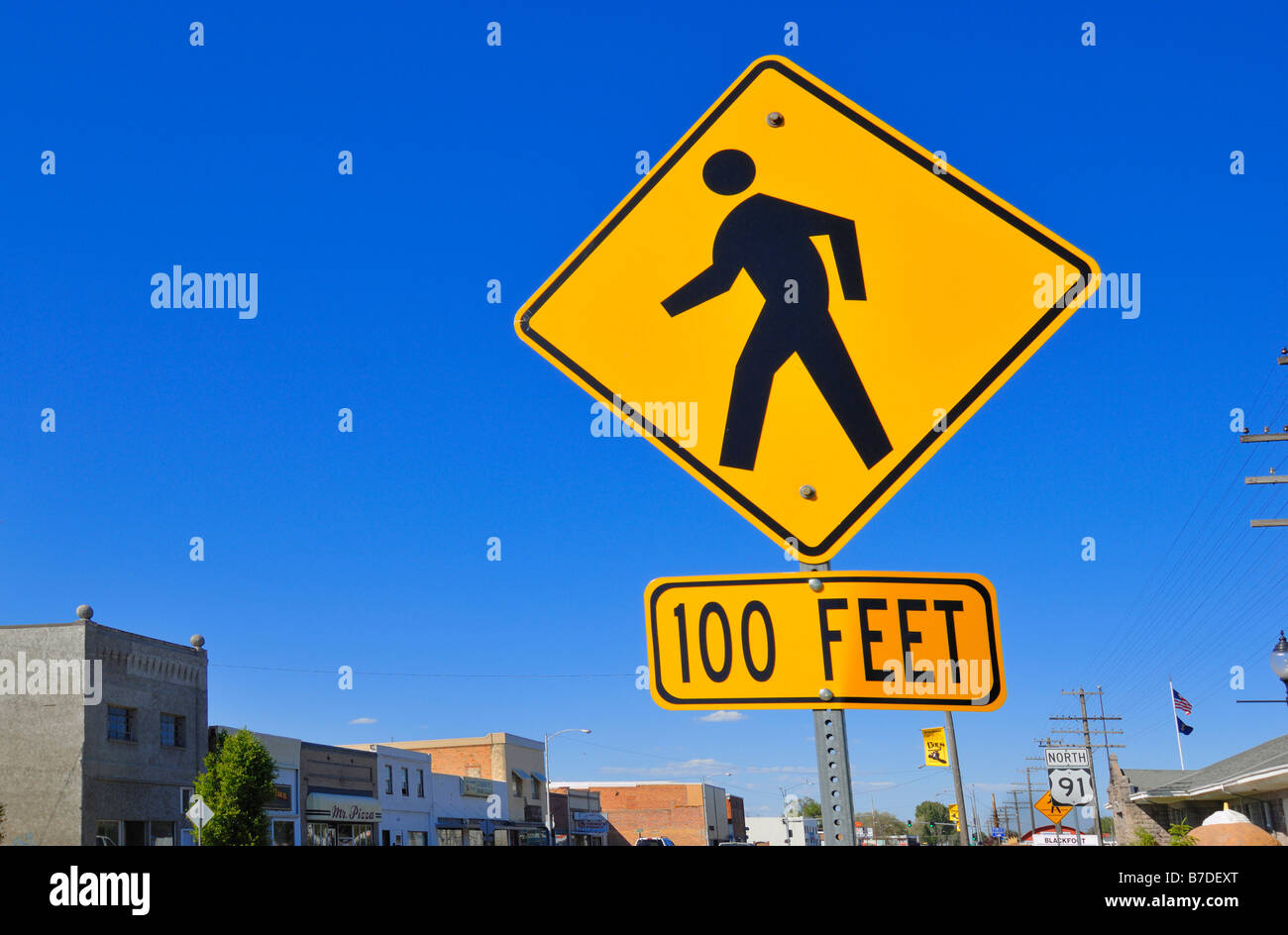 Humorous road sign at Blackfoot, Idaho, United States of America - Stock Image