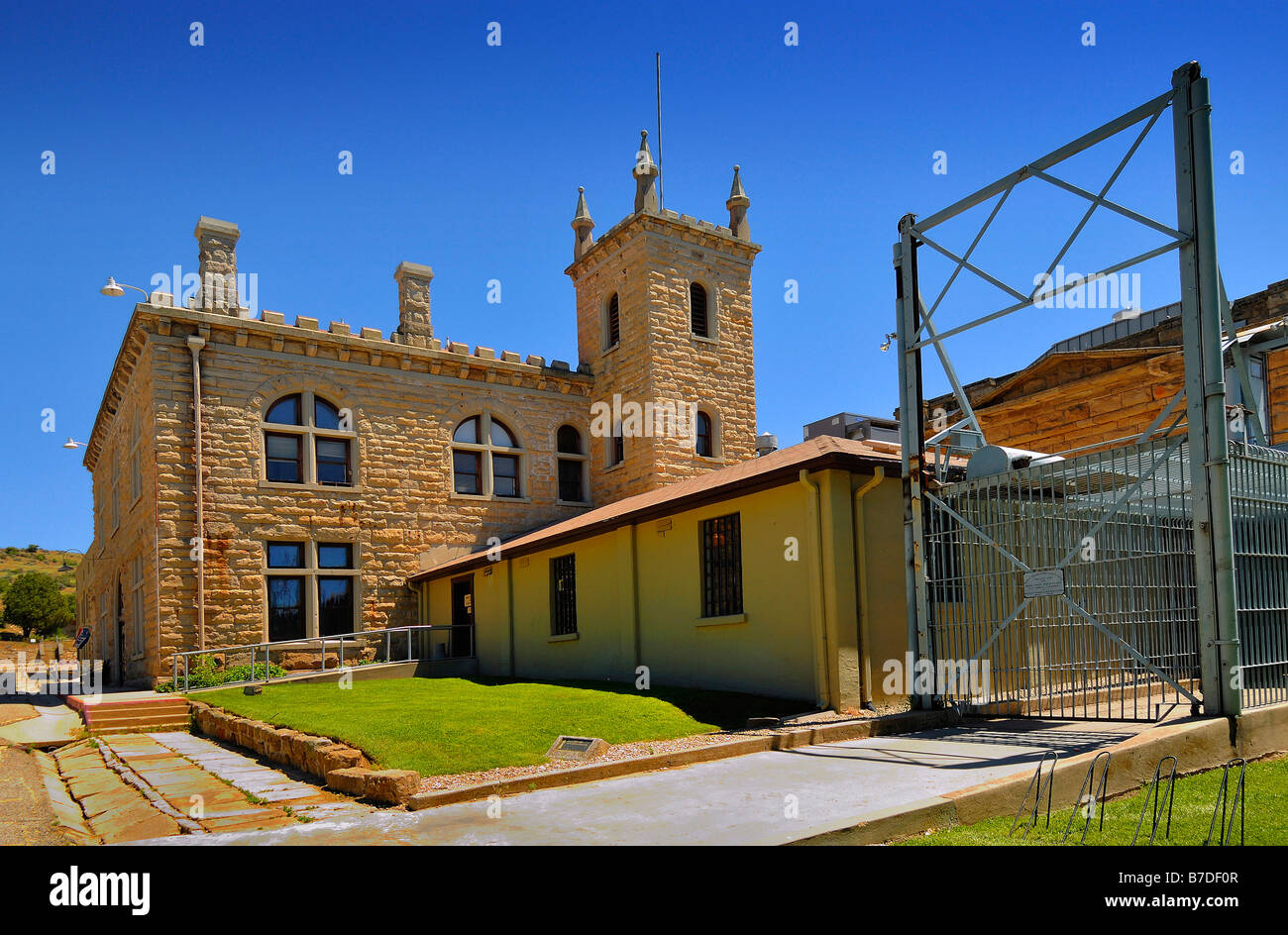 The Main Entrance to The Old Idaho State Penitentiary at Boise, State Capital of Idaho, United States of America - Stock Image