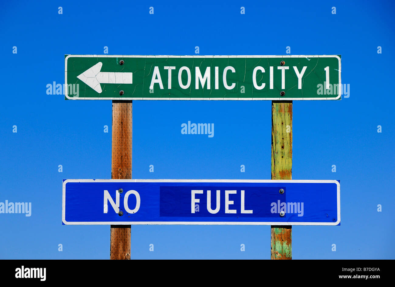 Humorous road sign near the town of Atomic City in Idaho, United States of America - Stock Image