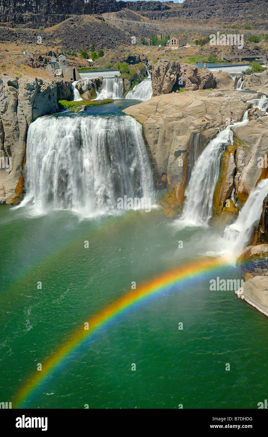 Shoshone Falls and a rainbow at the town of Twin Falls in Idaho, United States of America. Vertical format - Stock Image