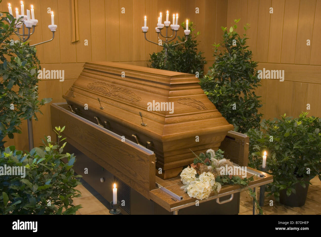 decorated mortuary and coffin - Stock Image