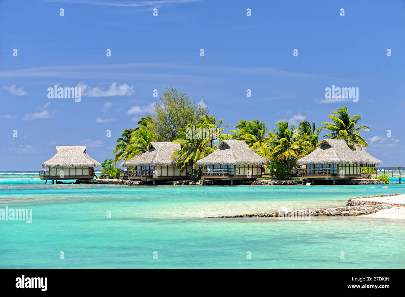 Overwater bungalows at the Hotel Intercontinental Resort & Spa, Moorea, French Polynesia - Stock Image