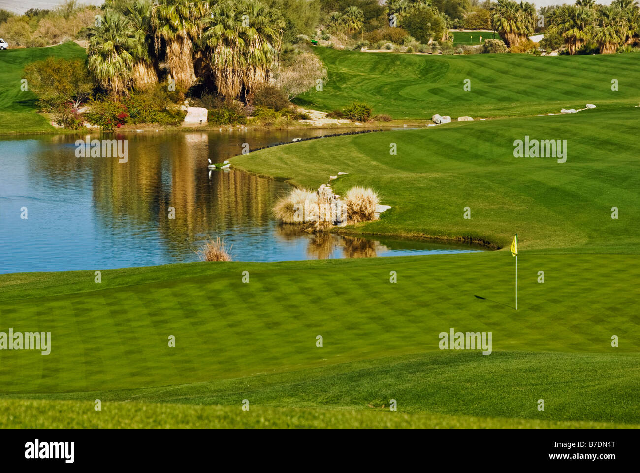 Desert Willow, Public, Golf Course, Resort ,Palm Desert, CA, near Palm Springs, Green Fairway ,Water, Golf USA, - Stock Image