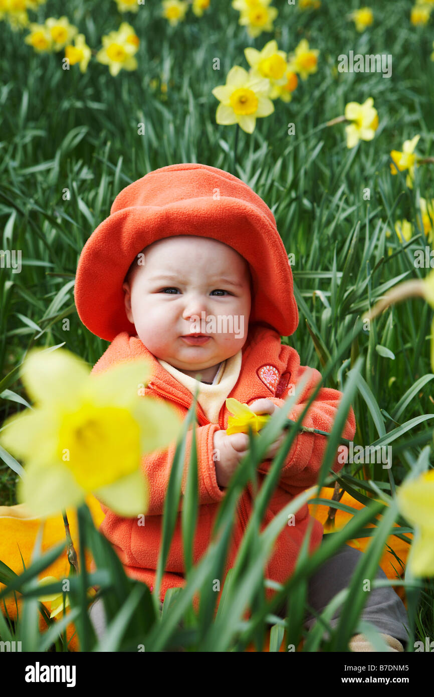 Baby wearing red coat and hat sitting in the meadow between yellow flowers. - Stock Image